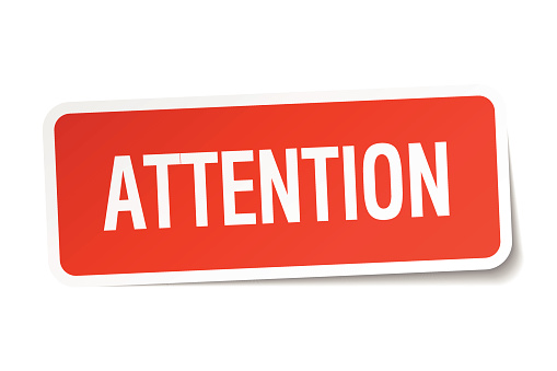 attention red square sticker isolated on white